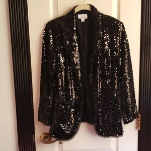 Joan Rivers Sequined Black Blazer